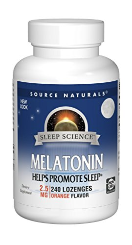 Source Naturals Sleep Science Melatonin 2.5mg Sleep Support Orange Flavor Sublingual Promotes Restful Sleep and Relaxation - Supports Natural Sleep/Wake Patterns and Rhythms - 240 Lozenges