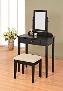 dark wood vanity table. Contemporary Vanity Set with Adjustable Mirror and Stool Black Finish Amazon com  Dark Oak Wood by Acme Furniture