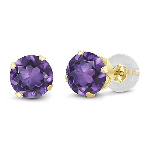 14k Yellow Gold Gemstone Ring - Gem Stone King 14K Yellow Gold Purple Amethyst Gemstone Birthstone Women's Stud Women's Earrings (1.50 Cttw, Round 6MM)
