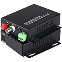 Guantai 1080P HD CVI AHD TVI 1 Channel Video Fiber Optical Media Converters with RS485 Data,FC, Singlemode 20Km- For 1080p 960p 720p AHD CVI TVI HD CCTV