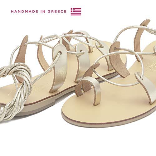 Or Bohèmes En Plates Sandales Faites Spartiates À Helena Femme Cuir La Naturel D'été Pour Chaussures Schmick Chics Main aw8gqvg