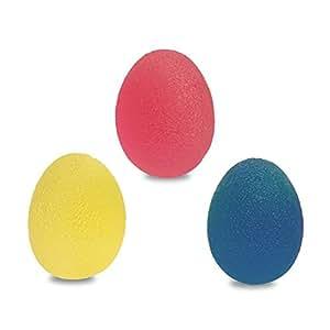 Jina ya na 3pcs mano Fortalecimiento terapia de alivio del estrés bolas–reutilizable con mano dedo Grip strengthentherapy estrés bolas de huevo [suave y media y firme], resistencia ejercicio Squeeze huevos