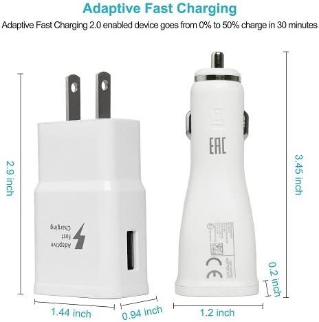 Sharko Adaptive Fast Charger Kit for Samsung Galaxy S7//S7 Edge//S6//Note5//4 //S3 S7 Fast Charger Set White Wall Charger + Car Charger + 2 x Micro USB Cable