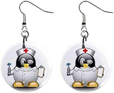 Cartoon Nurse Penguin Dangle Button Earrings Jewelry 1 inch Round 12794615