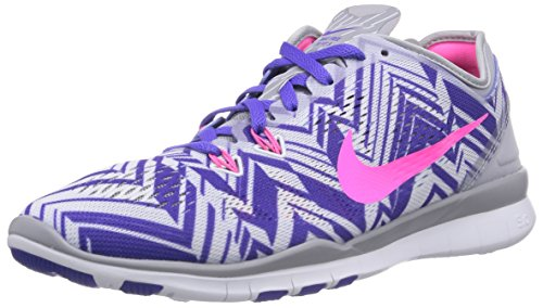 Nike Free TR 5 Print, Chaussures de Running Femme Multicolore (Wolf Grey/Pink Power-Person Volt-White 005)