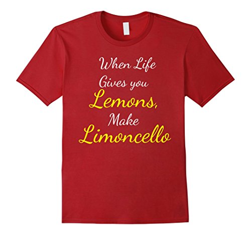 Mens When Life Gives You Lemons Make Limoncello Funny Shirt XL Cranberry