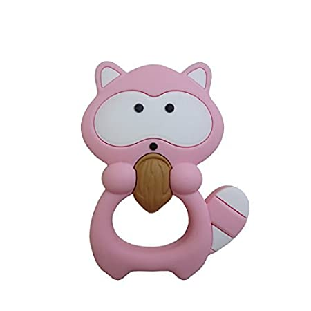 Mamimami Home Bébé Silicone Teether Raccoon Lovely BPA Free Coloré Raccoon Teether Pendentif Pendentif