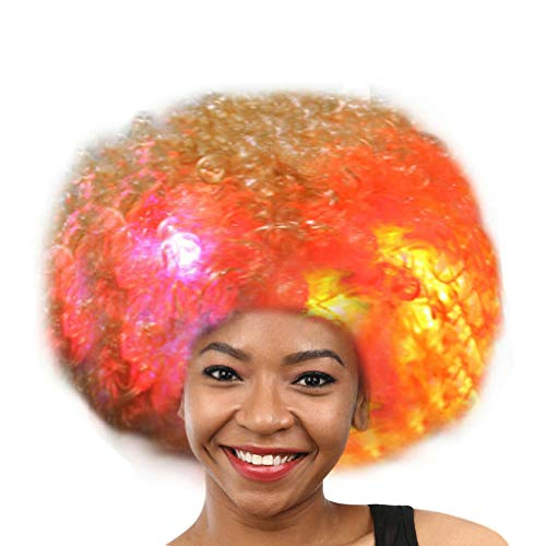 NRUTUP Party Disco LED Flash Clown Hair Football Fan-Adult Afro Masquerade Hair Wig  Hot Sales(K,Free Size)