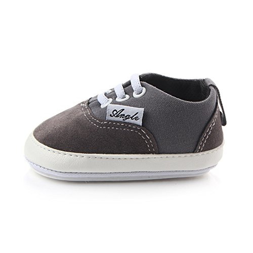 Huluwa Baby Shoes Non-slip First Walking Shoes, Rubber Sole Canvas Shoes for Baby Boys Girls, Safe and Comfort, Gray -
