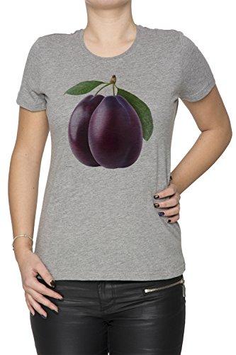 Prune Gris Coton Femme T-shirt Col Ras Du Cou Manches Courtes Grey Women's T-shirt