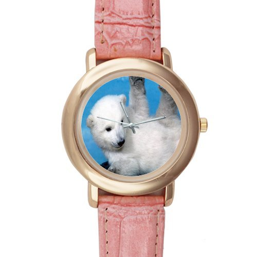 Gifts for Girls/Ladies Cute Baby Polar Bear Pink Leather Alloy Watch