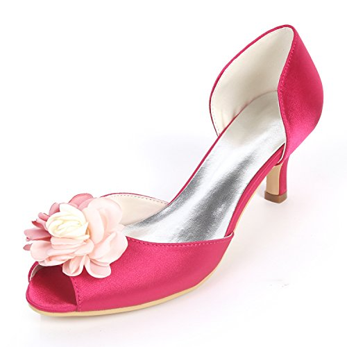 court Boda yc Mujeres Blancas Las Pumps Toe Los De 6cm L Red Chunky Peep Heels New Flores Zapatos High tHqdwHT