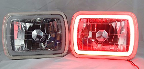 Chevy Cavalier Crystal Headlights (1982, 1983 Chevy Cavalier 7X6 H6014/6052/6054 Chrome Crystal CCFL Ring Halo Red Headlight Conversion)