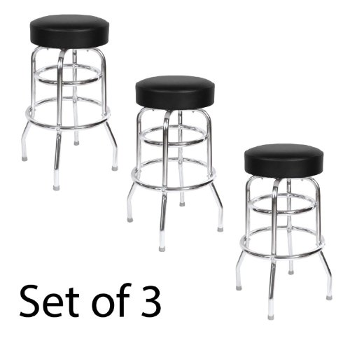 (Black Seat Double Rung 30 Inch Swivel Bar Stool - Set of Three (0-1952BLK 3pk))