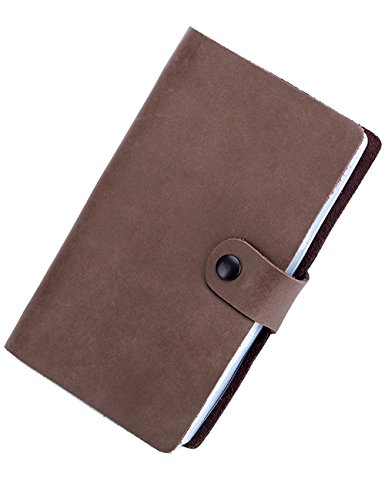 Isuperb Leather Credit Card Holder Case Snap Closure Business Id Card Organizer Pouch Name Card Book With 90 Card Slots 4 5X7 2X0 59 Inch  Coffee