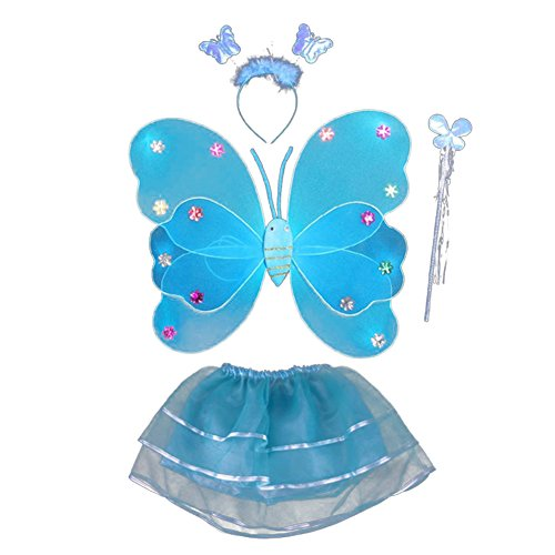 Fairy Lumimous Kids Halloween Costume Props Butterfly Wing Wand Headband Tutu Skirt Set (Easy Halloween Costumes For 8 Year Olds)