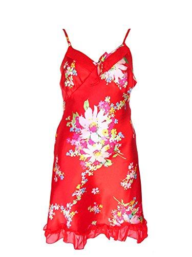 Seiden Negligé, Nachthemd aus 65 % Seide + 35 % Viskose mit Blumenmuster, rot, AM-DA-Y08-004-rot