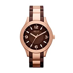 Relic by Fossil Bristal Rose Gold Tone Brown Ceramic Womens Watch ZR34214
