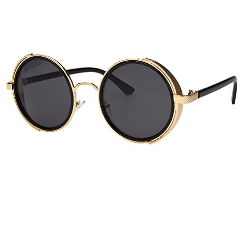 d199e59132a Sunclassy Metal Frame Side Shield Oval 52mm Hipster Round Sunglasses Vintage  Retro Steampunk Gothic Hippie Circle