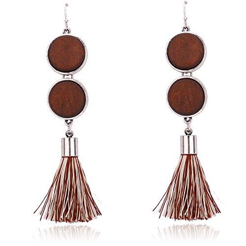Golden Brown Earring (BEMI New Design Elegant Girls Tassel Stud Dangle Earrings Eardrop Christmas Birthday Party Gift for Women Brown Tessel)