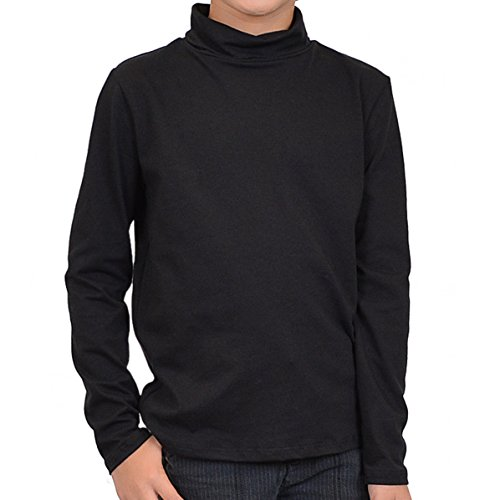 Stretch is Comfort Boy's Long Sleeve Cotton Turtleneck Black -