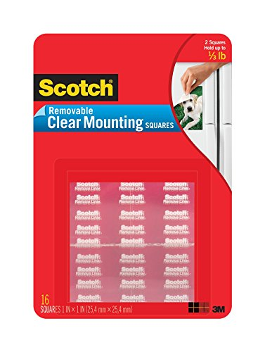 Scotch Mounting Squares Removable, 1 x 1 Inch, Clear, 6-PACK