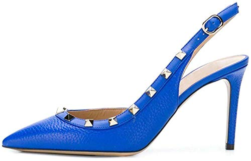 Ayercony Rivets Studded Sandal, Woman's Pointed Toe Sandals High Heels Slingback Pumps Rockstudded for Dress Party Blue Snakeskin 10CM Size 7.5 US
