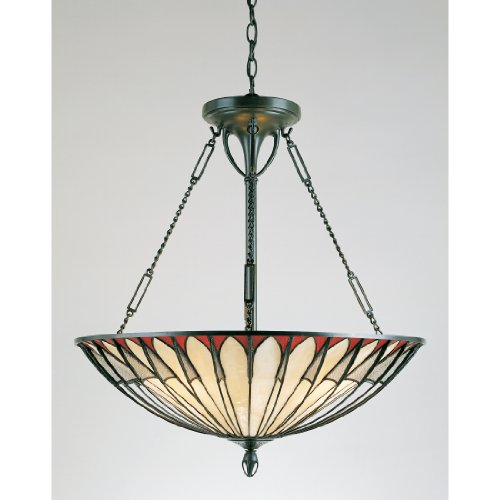 (Quoizel TF1816VB Alahambre Tiffany Bowl Pendant Lighting, 4-Light, 400 Watts, Vintage Bronze (25
