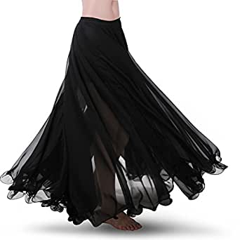 ROYAL SMEELA Women's Belly Dance Skirt ATS Voile Maxi Full Tribal Bellydance Chiffon Skirt, Black, One Size