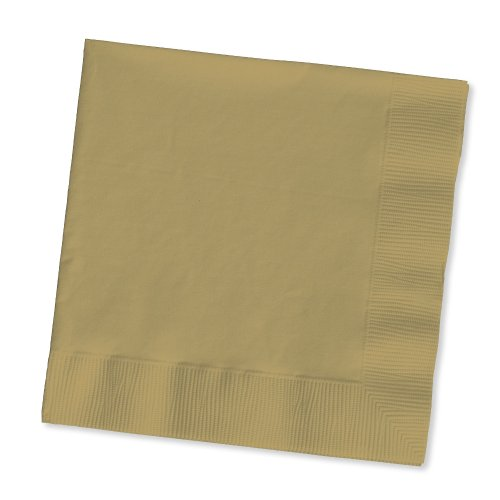 Creative Converting Touch of Color 200 Count 2-Ply Paper Beverage Napkins, Glittering Gold by Creative Converting
