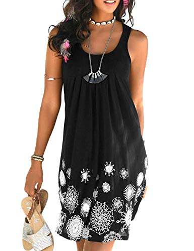 (CILKOO Ladies TunicBlouses Flare TopsShirt Casual Sleeveless Beach Cover Up Floral Shift Dress US16-18 X-Large Black)