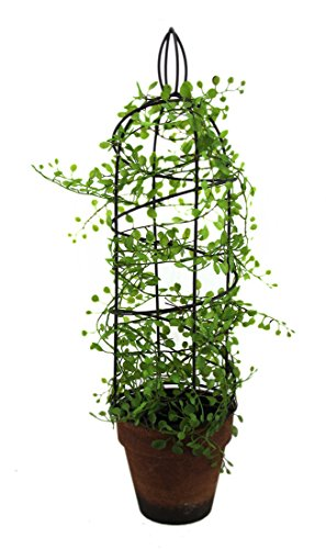 Metal Artificial Plants Artificial Climbing Vine Spiral Wire Trellis Ceramic Flower Pot 18 Inch 5.5 X 18.5 X 5.5 Inches Green Model # GCA40153 (Trellis Flower)