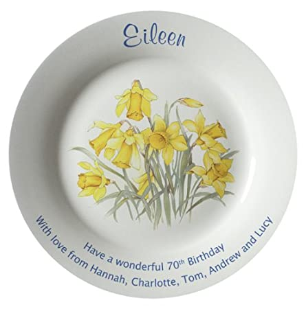 Daffodils Design with 2 Gold Bands on the Rim All About Names Personalised Birthday Plate