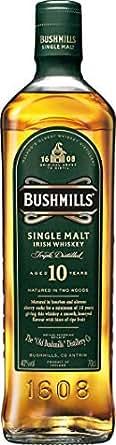 Bushmills Single Malt Irish, Whisky irlandés de malta único de 10 años, 70 cl
