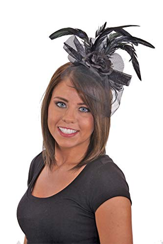 24612 Royal Fascinator Feather Headband Black Rose & Lace Saloon Girl