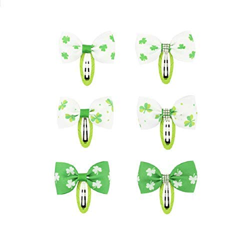 6pcs St Patricks Day Girls Snap Hair Clips Shamrock Four-Leaf Clover Hair Pins Hairbow for ST. Patrick's Day Toddler Hair Accessory