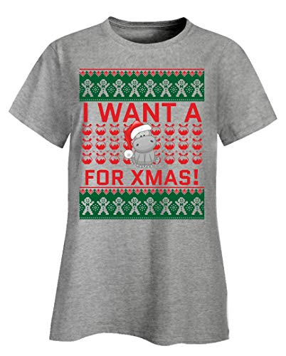 I Want a Hippo for Xmas - Christmas Animated Hippo Quote - Ladies T-Shirt Ash Grey