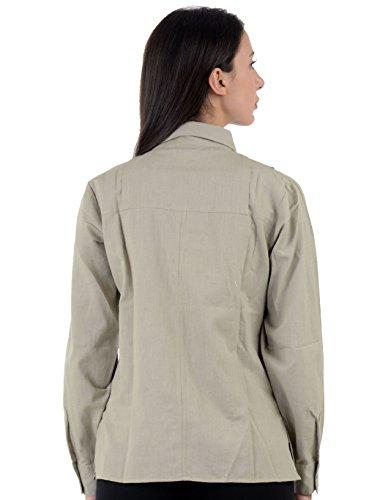 Plus Sh46 Size fl Beige Casual Camisa Algodón Crudo Flax XvfOn4S