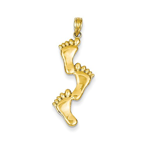 Jewelry Pendants & Charms Themed Charms 14k Triple Vertical Feet Pendant ()