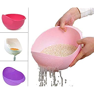 PRAMUKH FASHION ABS Plastic 11 Inch Multi Color Rice Bowl Rice Pulses Fruits Vegetable Noodles Pasta Washing Bowl & Strainer Good Quality & Perfect Size for Storing and Straining. Colander Random Colors 7