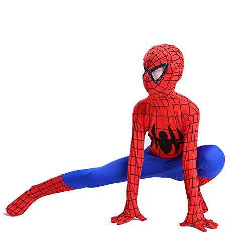 DSFGHE Spider-Man Costume Children's Jumpsuit Halloween Spider-Man Fancy Dress Costume Party Movie Props Spandex Cosplay Costume,Red-110cm -
