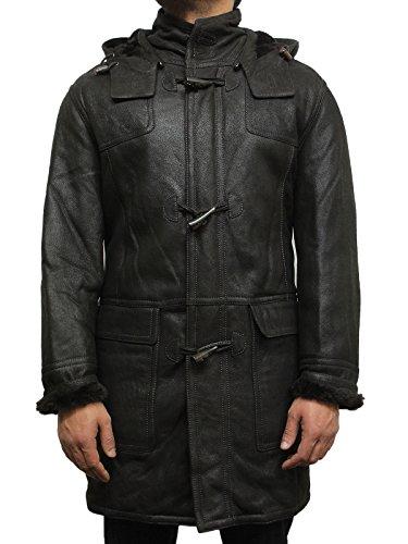 Brandslock Men's Black Warm Winter Real Shearling Sheepsk...