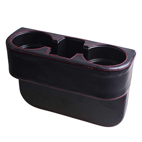 (Lisyline Universal Leather PU Car Cup Holder Car Seat Seam Wedge Mount Cup Stand Holder Storage Organizer Seat Back Drinking Bracket Car Seat Wedge Water Bottle Double Cup Holder Cellphone Holder)