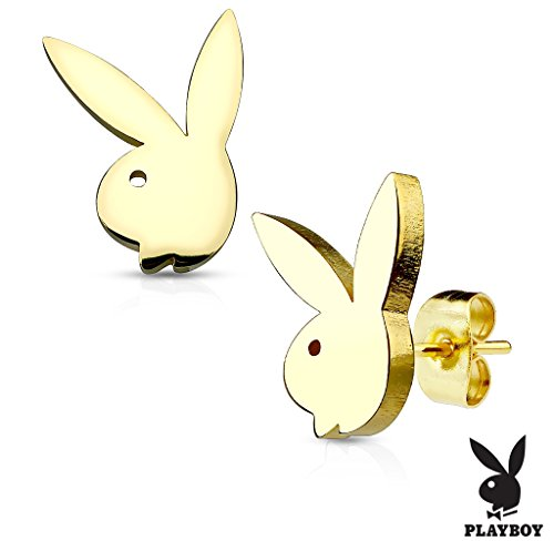 Playboy Bunny Gold IP OVER 316L Stainless Steel Stud Earrings