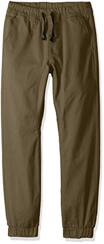 Olive Green Twill Pants - Southpole Boys' Big Jogger Pants in Basic Stretch Twill Fabric, Olive, X-Large