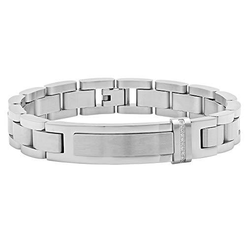 Jewelry Nation Men's 0.05 Ctw Stainless Steel Diamond Id Bracelet, 8.75