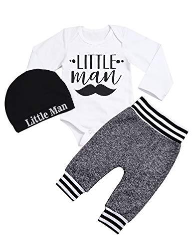 Newborn Baby Boy Clothes Little Man Letter Print Romper+Long Pants+Hat 3PCS Outfits Set (A-White, 3-6 Months)