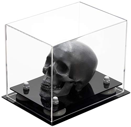Versatile Deluxe Clear Acrylic Display Case - Small Rectangle Box with White Risers 8.25