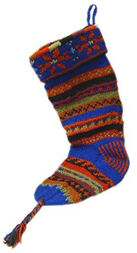 Handknit Wool Christmas Stockings (Jewel Tone Blue Stripe) Jewel Tone Stripes