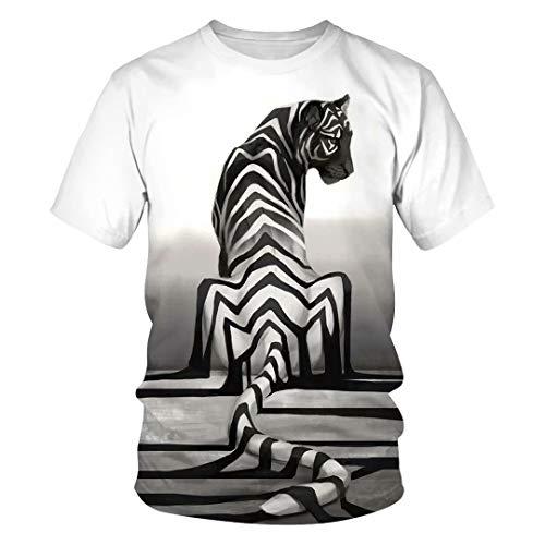 (Tsyllyp Women Mens Fashion T-Shirts Short Sleeve Stripe Tiger 3D Print Tee Shirt)